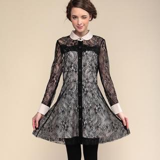 通勤小翻领 长袖连衣裙蕾丝透视小性感秋装长袖裙子