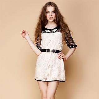 通五分袖中袖 寬松腰網紗拼接太陽花刺繡蕾絲連衣裙